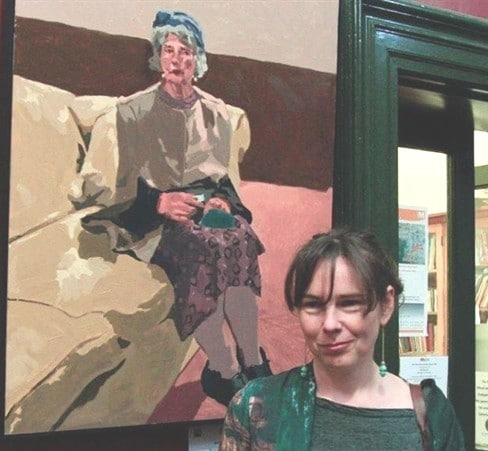 Lisa Stute with her portrait Orphan